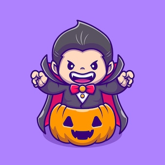 Cute dracula in pumpkin cartoon icon illustration. people holiday icon concept isolated  . flat cartoon style