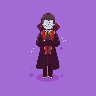 Cute dracula vector cartoon with flat cartoon style cute halloween character mascot design