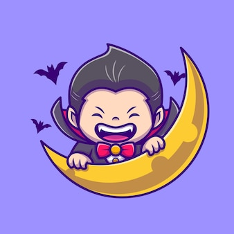 Cute dracula with moon and bat cartoon icon illustration. people holiday icon concept isolated  . flat cartoon style