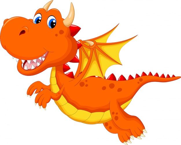Cute dragon cartoon flying