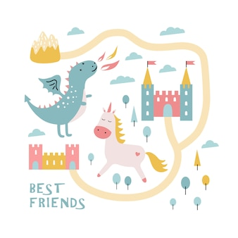 Cute dragon, castle, unicorn. best friends.