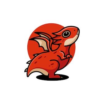 かわいいドラゴンのキャラクターのロゴ
