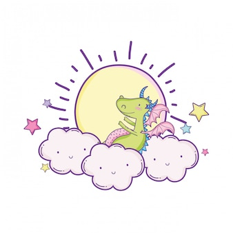 Cute dragon on clouds cartoons