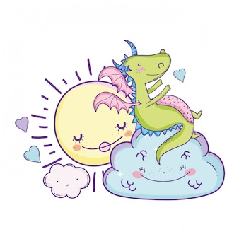 Cute dragon on clouds cartoons
