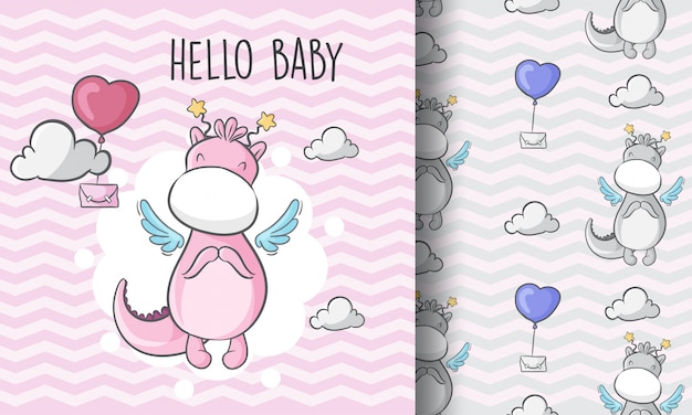 Cute dragon flying in the sky seamless pattern illustration childish