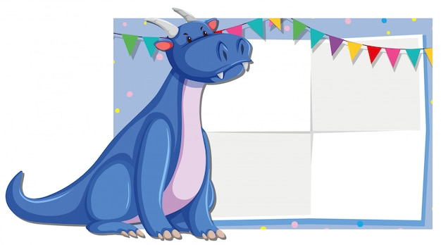 Cute dragon frame background