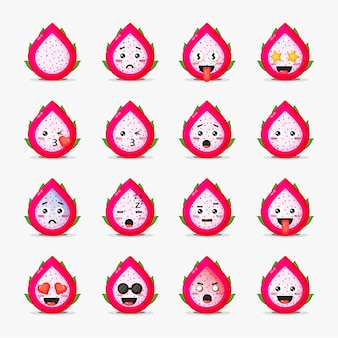 Cute dragon fruit with emoticons set