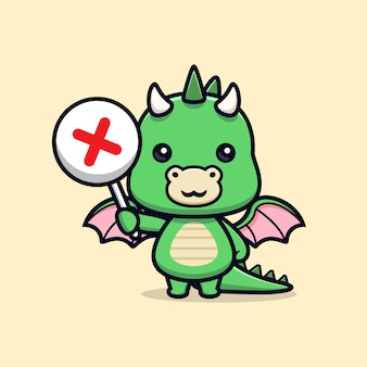 Cute dragon holding wrong sign or cross sign animal mascot character