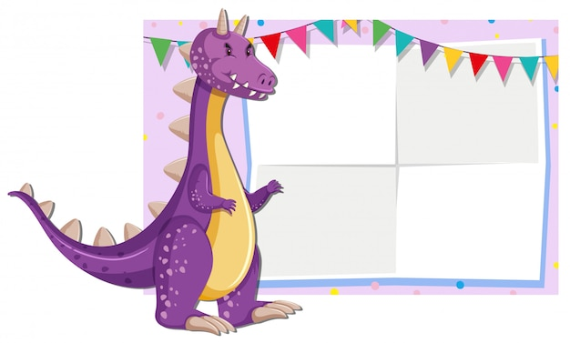 A cute dragon illustration on blank note background