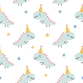 Cute dragon seamless pattern background