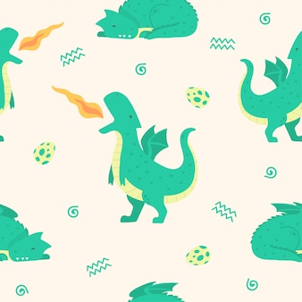 Cute dragon seamless pattern for wallpaper