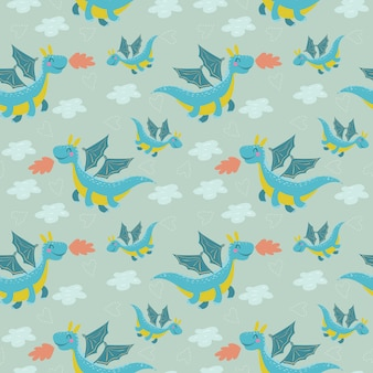 Cute dragon seamless pattern