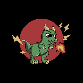 Cute dragon spitting fire illustration