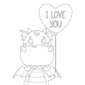 Cute dragon with balloon in shape of heart and hand drawn lettering quote - i love you.