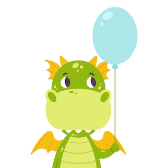 Cute dragon with a baloon.