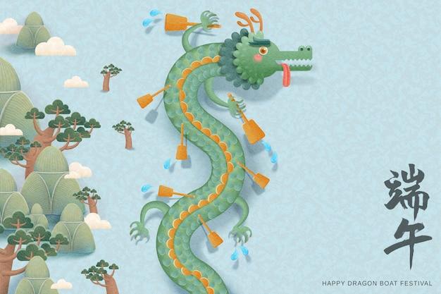 Cute dragon with paddles upon the river Premium Vector