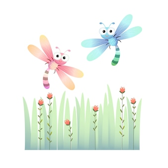 Cute dragonflies flying over the grass