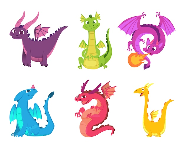 Cute dragons. fairytale amphibians and reptiles with wings and teeth medieval fantasy wild creatures  characters