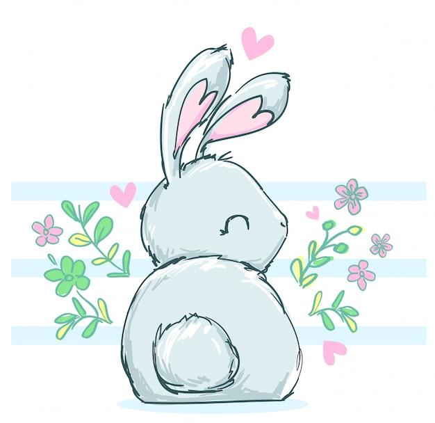Cute drawing bunny with flowers.