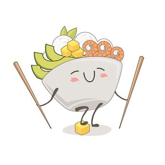 포크 그릇의 귀여운 그림입니다. 귀여운 음식 일러스트