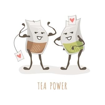 Милый рисунок культуристов в пакетиках с чаем