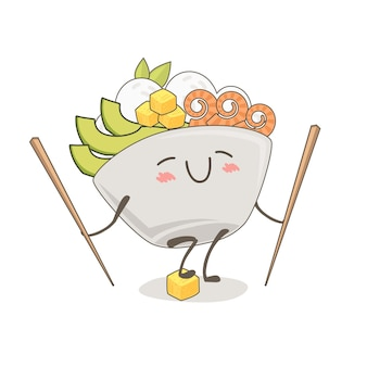Cute drawing of a poke bowl. kawaii food illustration
