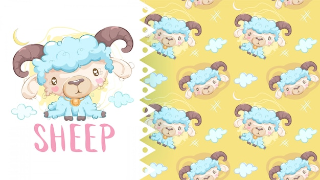 Cute drawing of sheep with pattern background