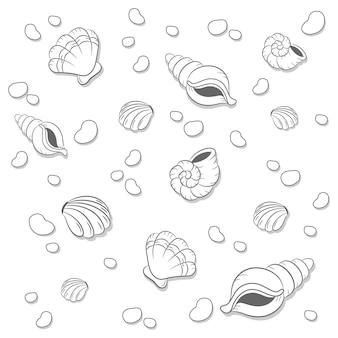 색칠을위한 바위 스케치와 귀여운 그리기 껍질