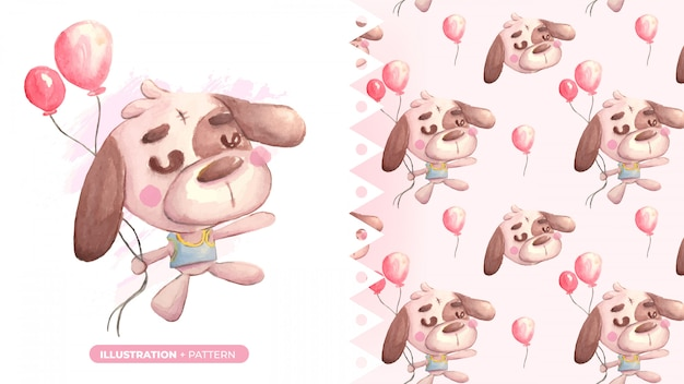 Cute drawing of teddy dog with pattern banner