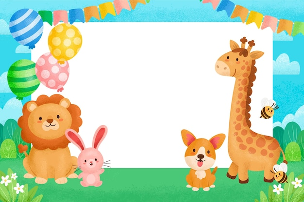 Cute drawing with animals