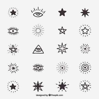 Cute drawings of symbols and stars