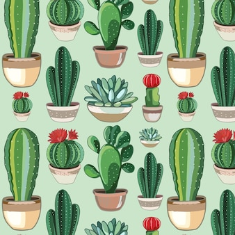 Cute drawn cactus pattern