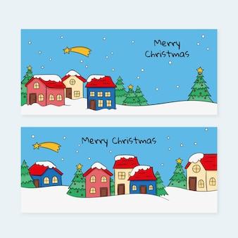 Cute drawn christmas town banners
