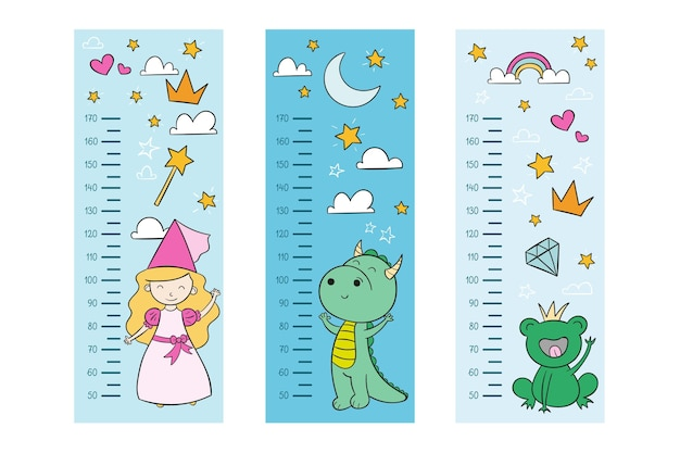 Cute drawn height meters illustrated