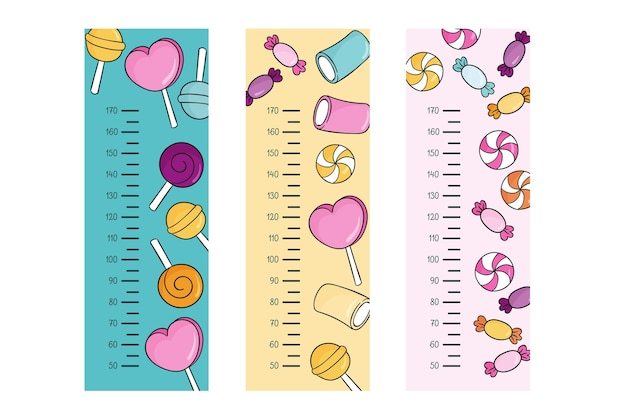 Cute drawn height meters set illustrated