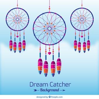 Симпатичные dreamcatchers в плоском фоне дизайна