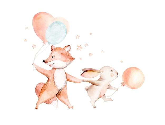 Милый мечтающий мультяшный кролик и лиса, рисованная акварельная иллюстрация
