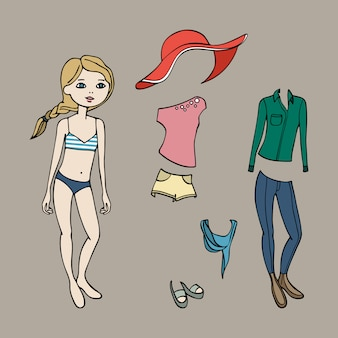 Cute dress up paper doll