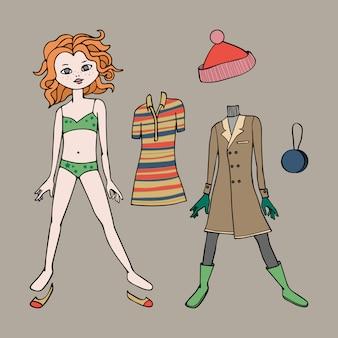 Симпатичная одеваем бумажную куклу