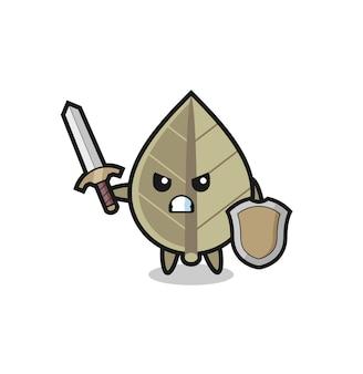 Милый солдат из сушеных листьев, сражающийся с мечом и щитом, милый стиль дизайна для футболки, наклейки, элемента логотипа