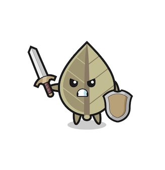 Cute dried leaf soldier fighting with sword and shield , cute style design for t shirt, sticker, logo element