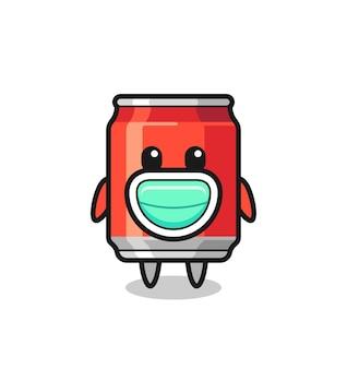 Cute drink can cartoon wearing a mask , cute style design for t shirt, sticker, logo element