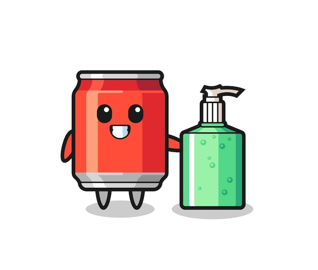 Cute drink can cartoon with hand sanitizer , cute style design for t shirt, sticker, logo element
