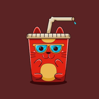 Cute drink cat illustration with flat cartoon style.