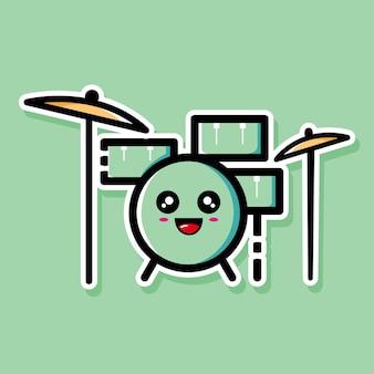 귀여운 드럼 만화 디자인
