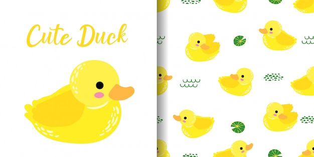 Cute duck animal seamless pattern with baby card