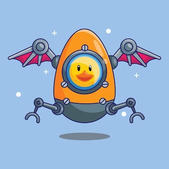 Cute duck astronaut riding aeroship made off eggs in space cartoon vector illustration