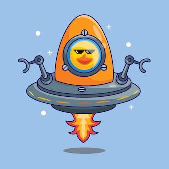 Милая утка-космонавт верхом на инопланетном корабле, сделанном из яиц в космосе, мультфильм векторные иллюстрации