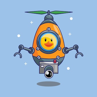 Cute duck astronaut riding drone space ship in space cartoon vector illustration