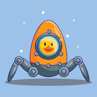 계란 만화 벡터 일러스트 레이 션에 의해 만든 귀여운 오리 우주 비행사 타고 공간 로봇. 무료 디자인 컨셉 절연 프리미엄 벡터